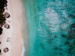 Playa Kalki Curacao tropical Island in the Caribbean sea, Aerial view over beach Playa Kalki on the western side of Curacao Caribbean Dutch Antilles azure ocean