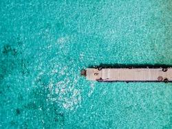 Playa Kalki Curacao tropical Island in the Caribbean sea, Aerial view over beach Playa Kalki on the western side of Curacao Caribbean Dutch Antilles azure ocean
