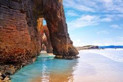 Playa las catedrales Catedrais beach in Ribadeo Galicia of Lugo Spain