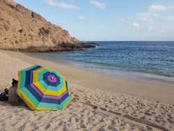 Playa Santa Maria on the Pacific coast of Mexico between Cabo San Lucas and San Jose del Cabo. It is swimmable, has good snorkelling and can be easily accessed from the highway..