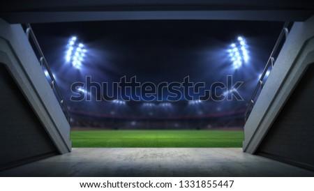 player entrance to illuminated stadium full of fans, football stadium sport theme digital 3D background advertisement illustration my own design