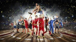 players of different sports in the basketball stadium 3D rendering