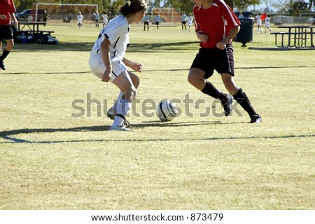 Players position themselves for control of the ball in a girl's soccer game.
