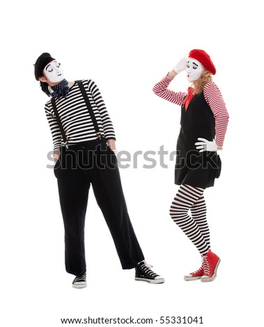 playful couple of mimes. isolated on white background