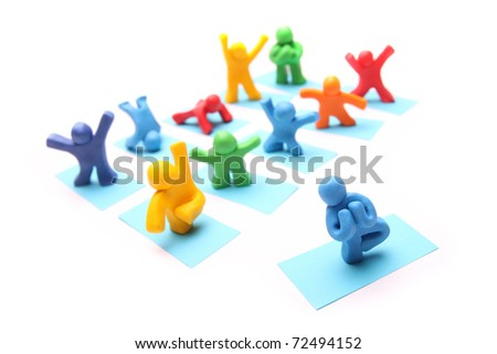 playful group of colorful plasticine people enjoying yoga class