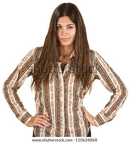 Playful Hispanic woman acting disappointed with hands on hips