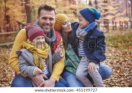 Playful with family in the forest