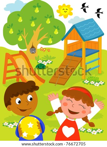 Playground: cartoon illustration of a black boy and a caucasian girl playing together at the park. - stock photo