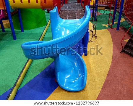 Playground indoors curved slide for kids #1232796697