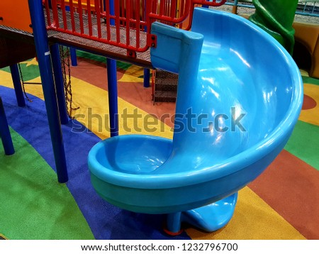 Playground indoors curved slide for kids #1232796700
