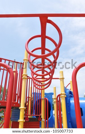 Playground Jungle Gym Equipment Sunny Blue Sky Day Close Up