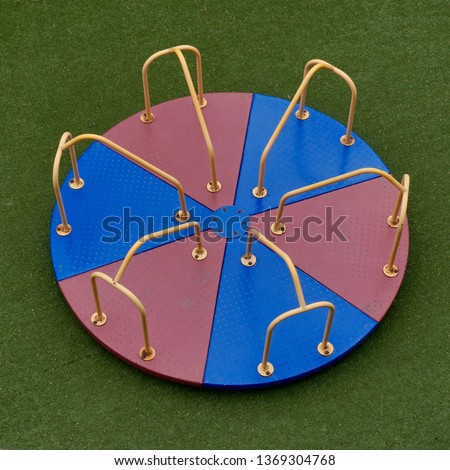 Playground Merry Go Round Carousel Children's Spinning Platform in Primary Colors