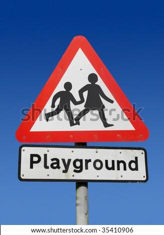 Playground road sign.