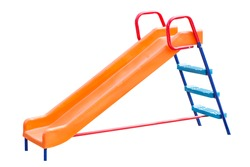 Playground slide of plastic isolated on white background