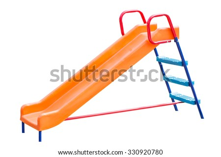 Playground slide of plastic isolated on white background