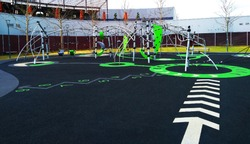 Playground with rubber floor covering