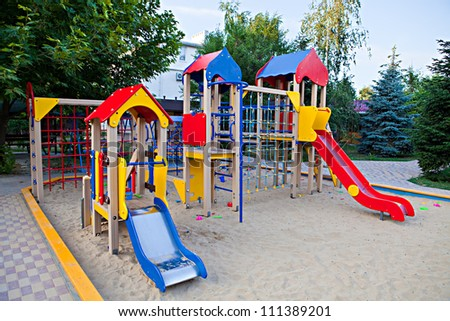 Playground with slides in the sandbox