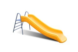 Playground yellow slide on white background. Isolate yellow slide on white.