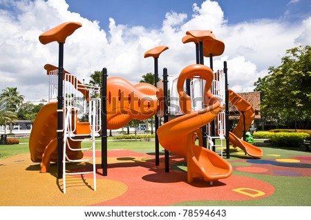 playgrounds and nice blue sky - stock photo