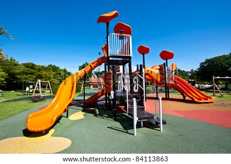 playgrounds in park and nice blue sky