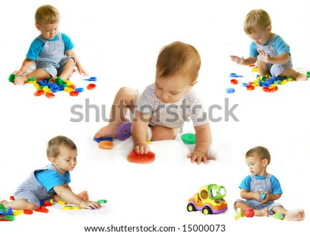 playing baby-boy over white collection