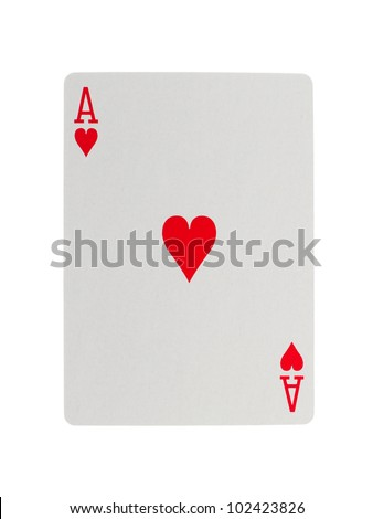 Playing card (ace) isolated on a white background