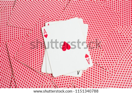 playing card background, ace of hearts close up