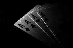 playing cards ace in black and white