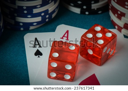 Playing Cards and Dice used with Gamling Chips #237617341