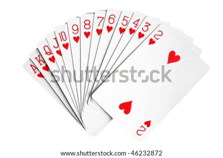 Playing cards isolated on the white background