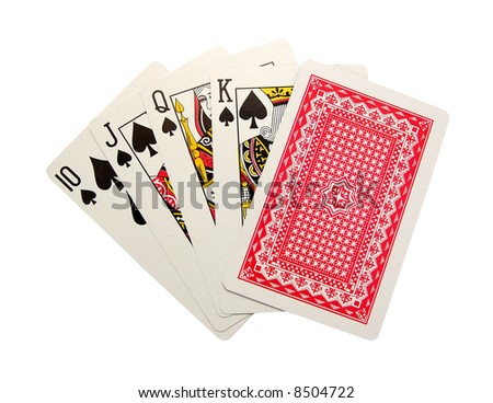 playing cards isolated - Royal Flush end The turned card