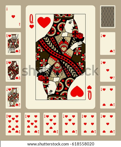 Playing cards of Hearts suit in vintage style. Original design
