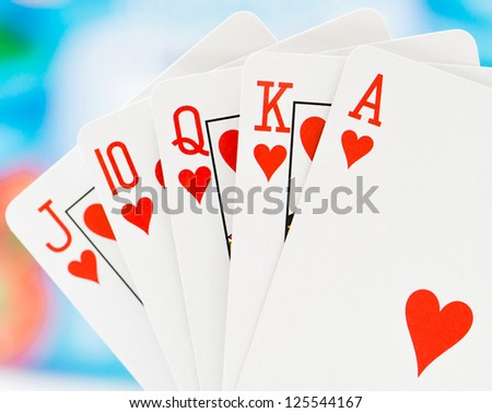 Playing cards on a blur background