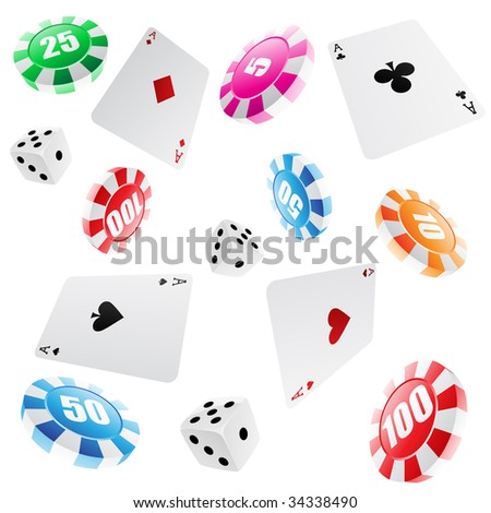 playing cards, roulette chips and dices seamless pattern