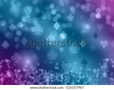 Playing cards shining symbols. Blue background.