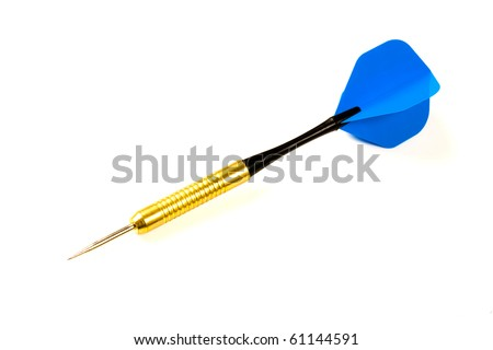 Playing Dart with blue flight on white background.