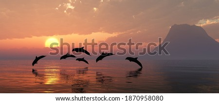 Playing dolphins at sunset, seascape with dolphins, island in the sea at sunset and dolphins, 3D rendering Photo stock ©