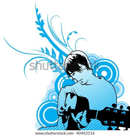 playing guitar vector illustration