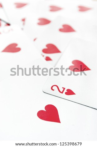 Playing heart cards, close up - stock photo