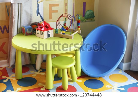Playing room for chidren as colorful theme