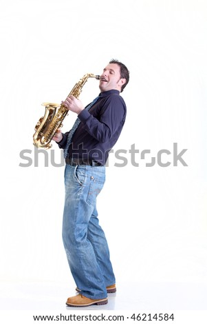 Playing sax isolated