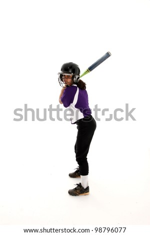 Playing the game of softball with a white background - stock photo