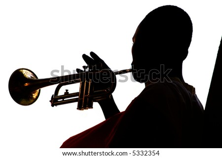 Playing the trumpet (silhouette)