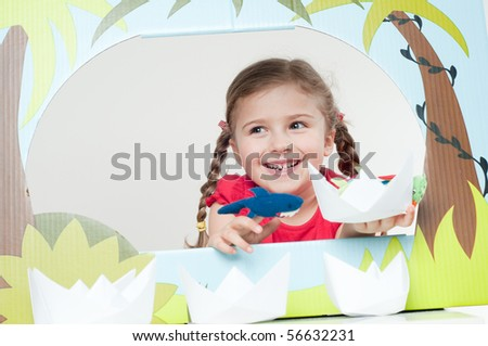 Playing theater ( no-name finger puppet ) - stock photo