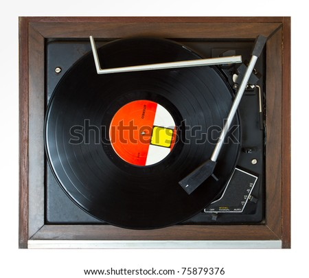 playing turntable on top view