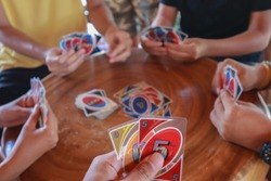 playing uno cards with my friends
