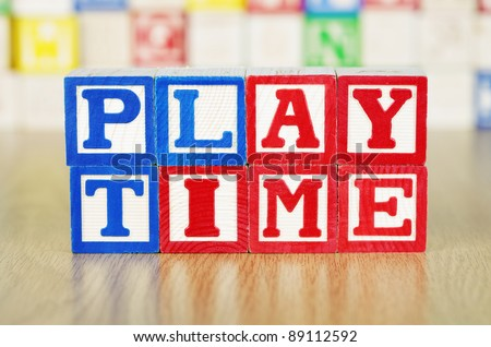 Playtime Spelled Out in Alphabet Building Blocks