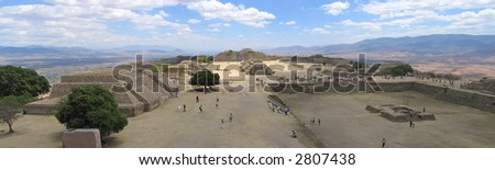Plaza Central from Monte Alban old city - Mexico - Panorama.