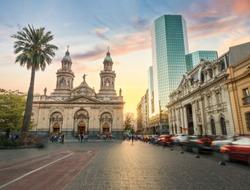 Plaza de Armas Square and Santiago Metropolitan Cathedral at sunset - Santiago, Chile