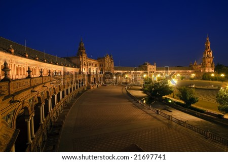 Plaza de Espana at night, Sevilla, Spain